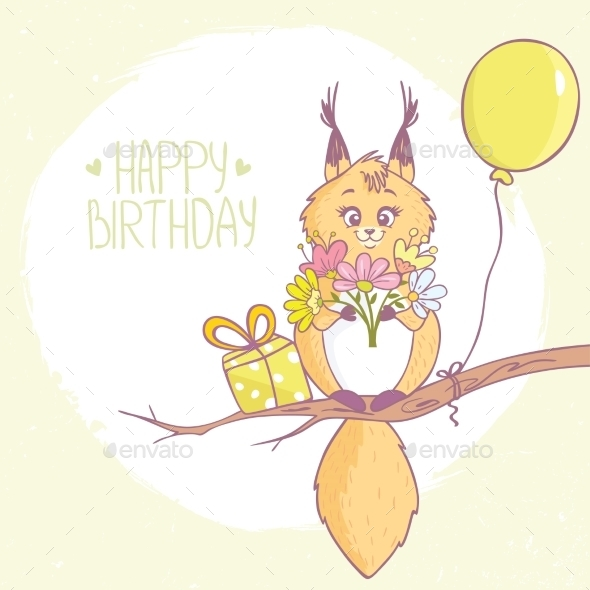 Squirrel Happy Birthday - Birthdays Seasons/Holidays