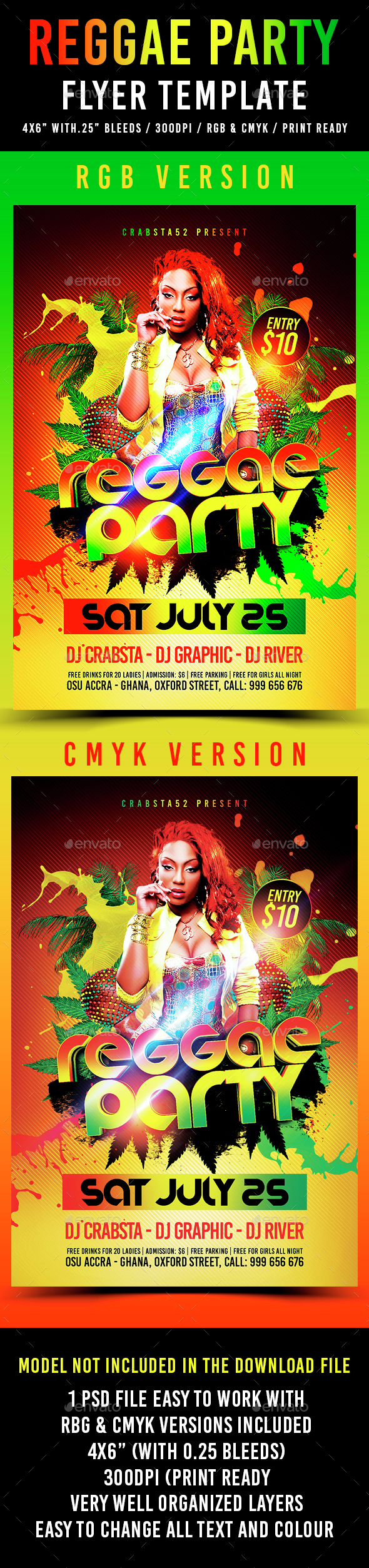 Reggae Party Flyer Template - Clubs & Parties Events