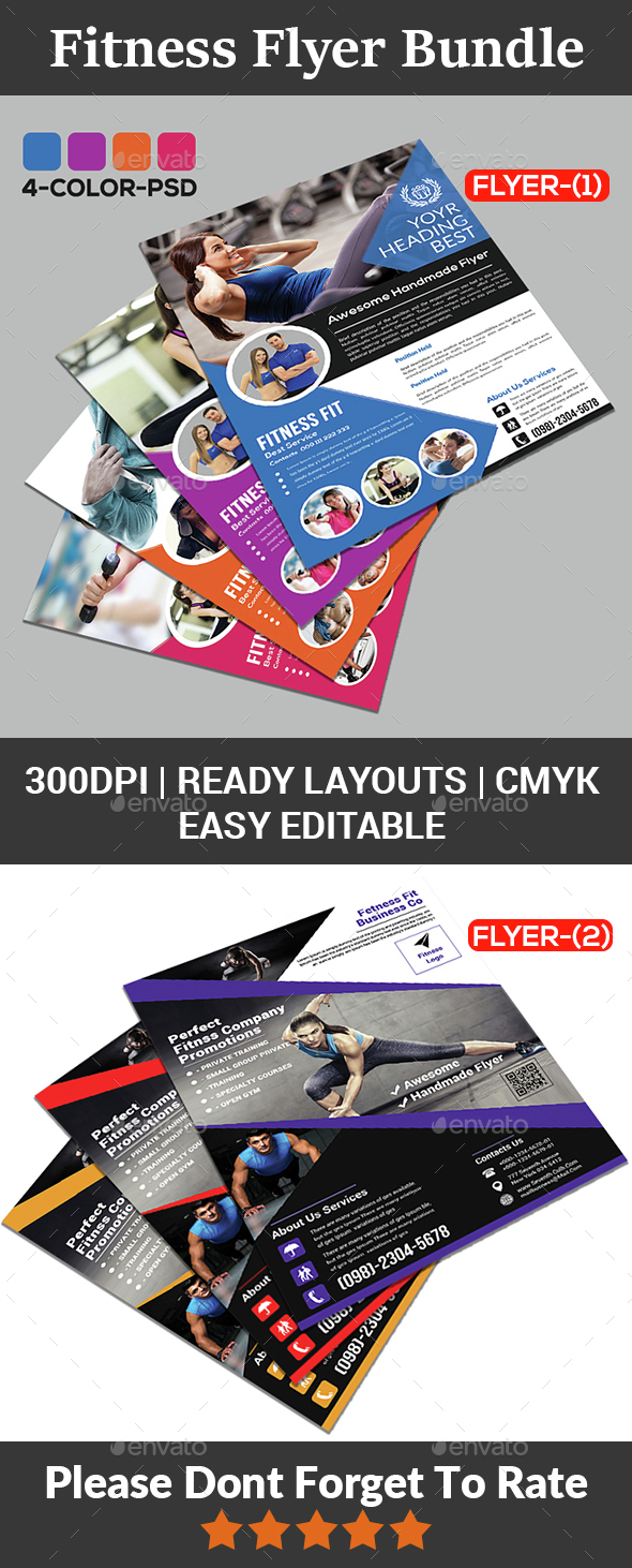 Fitness Flyer - Gym Flyer Bundle - Sports Events