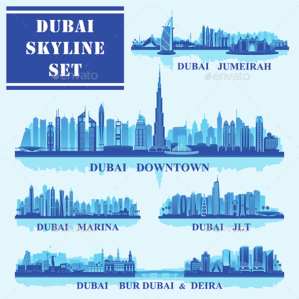 Set of Dubai Districts - Buildings Objects