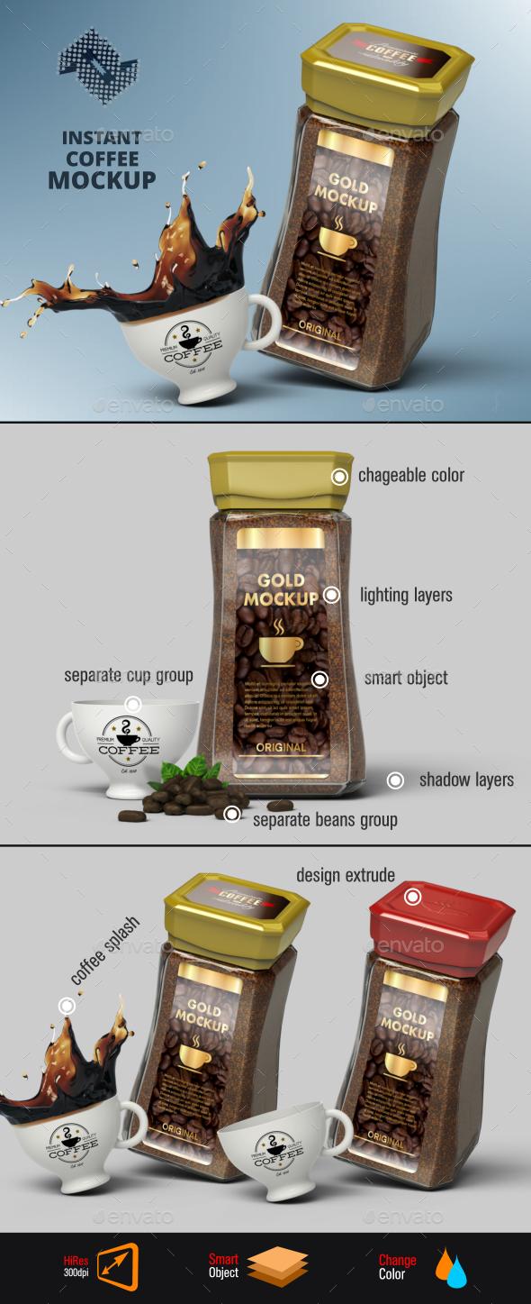 Instant Coffee Jar Mockup - Food and Drink Packaging
