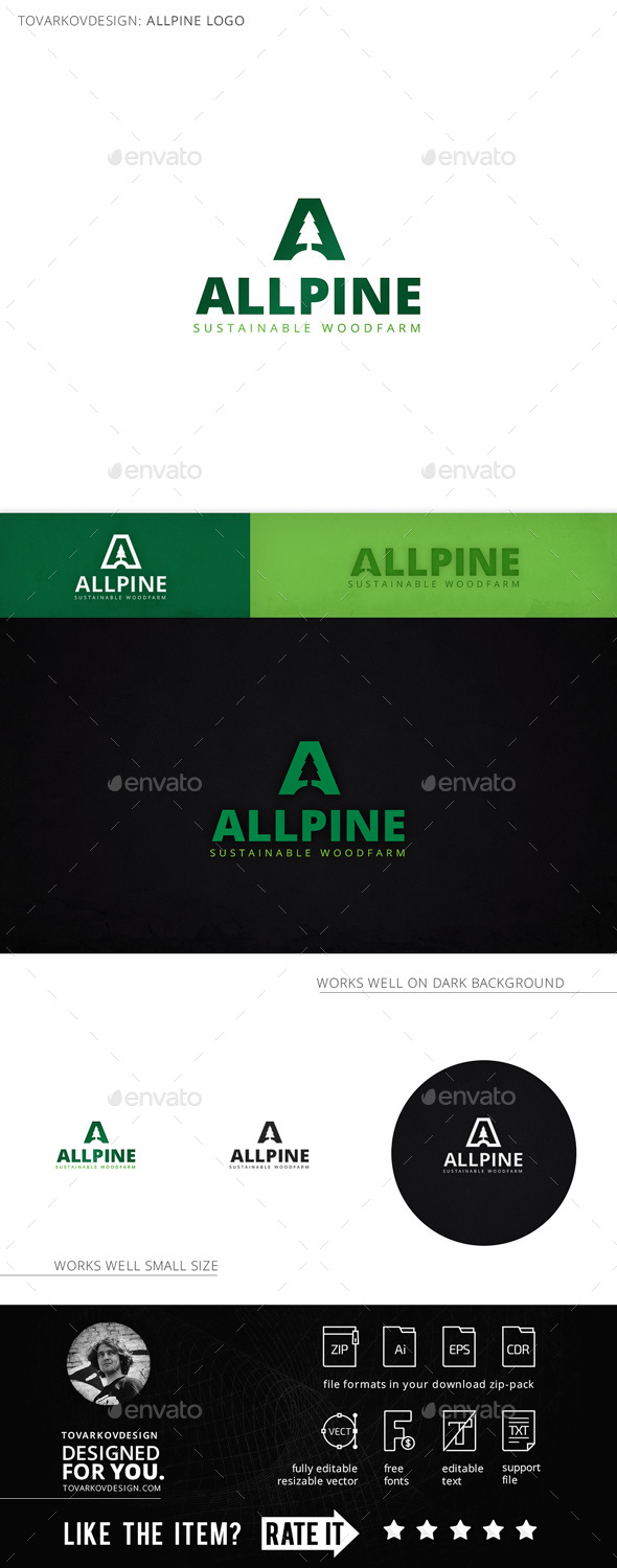 Allpine Fir Tree Letter A Logo Template - Letters Logo Templates