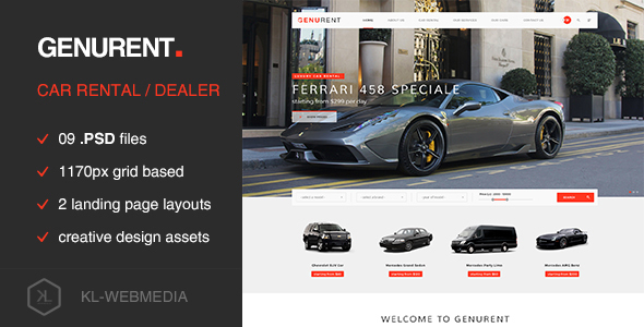Genurent – Car Rental Service PSD Template