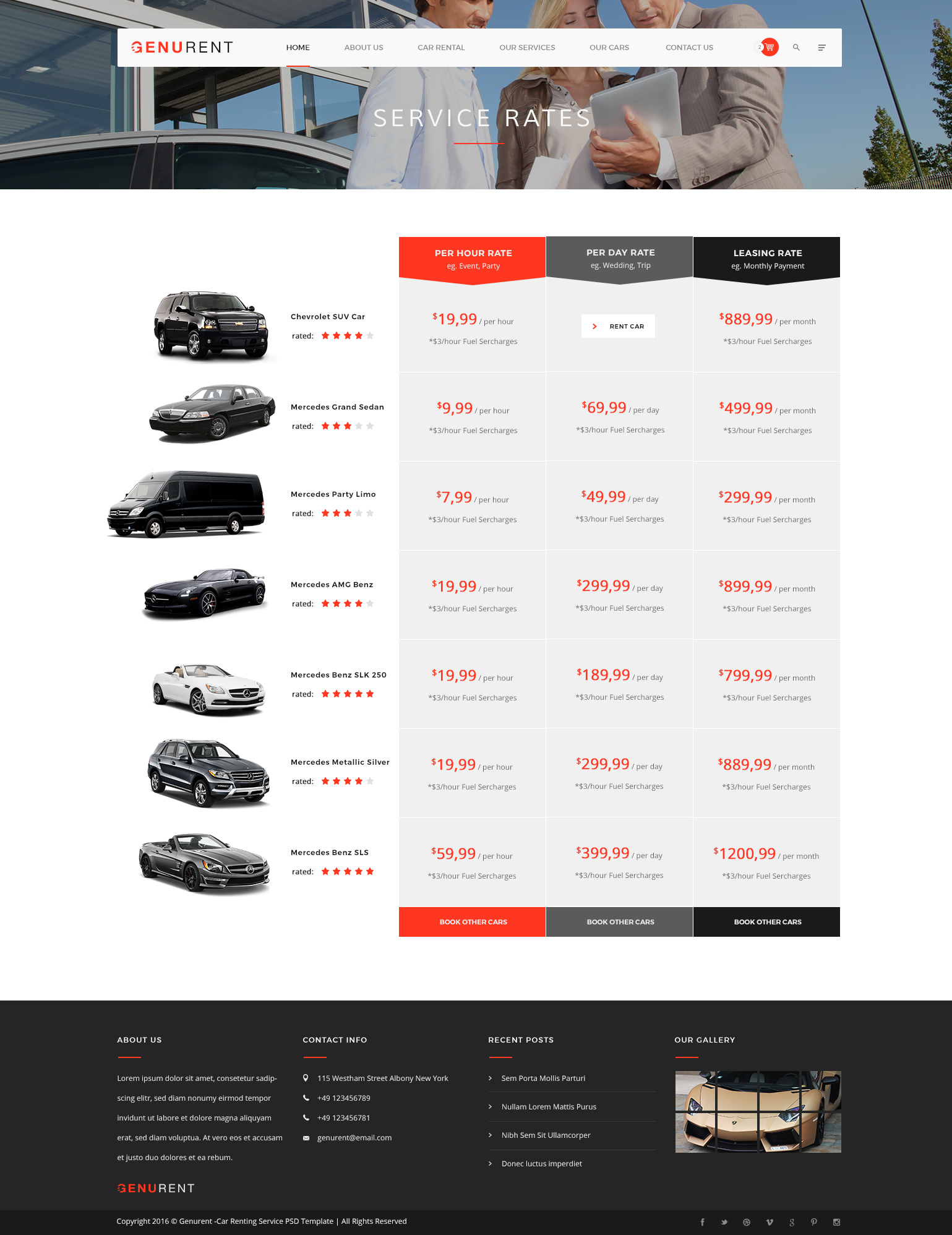 Genurent Car Rental Service Psd Template By Kl Webmedia Themeforest