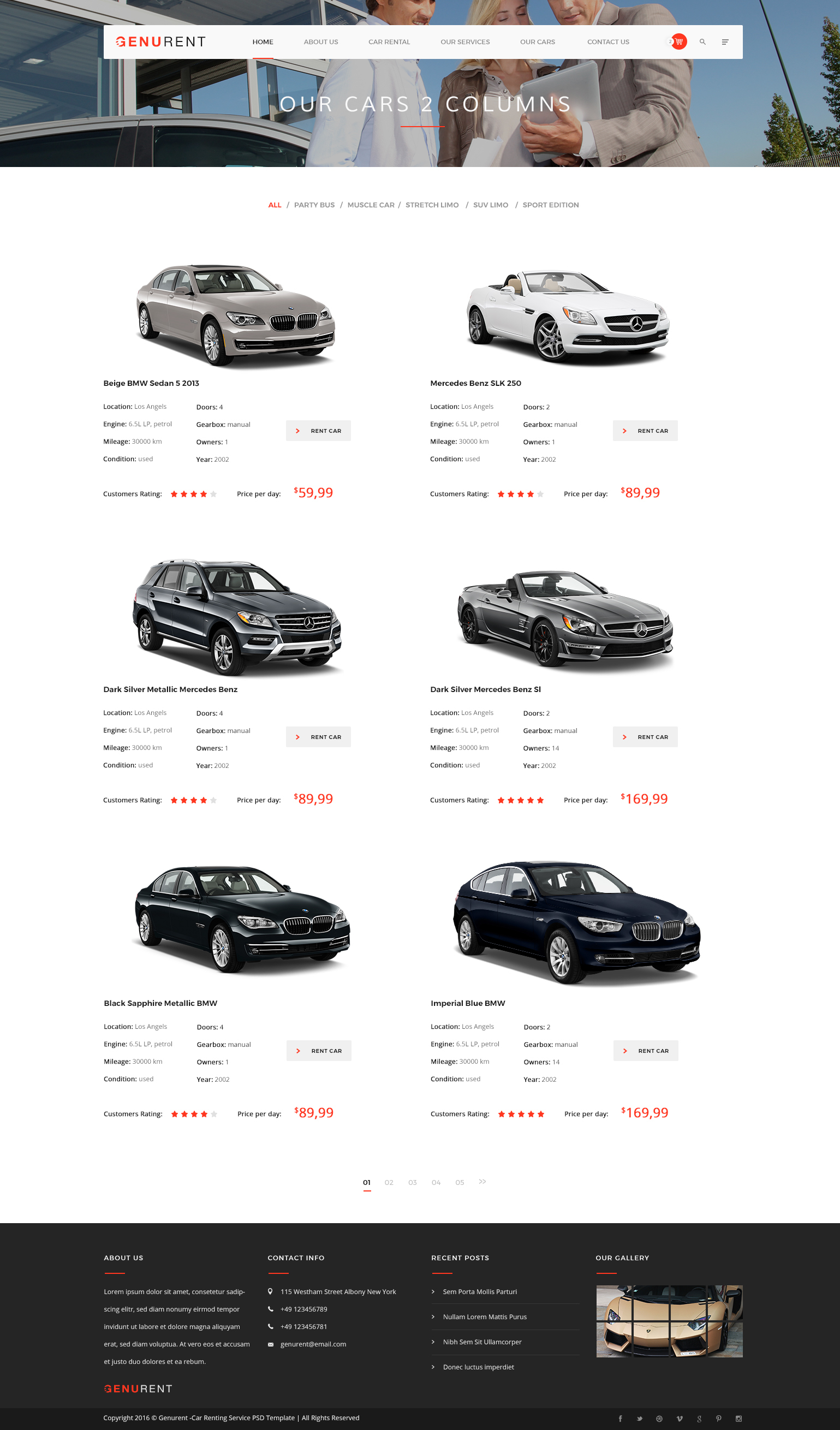 Genurent car rental service psd template