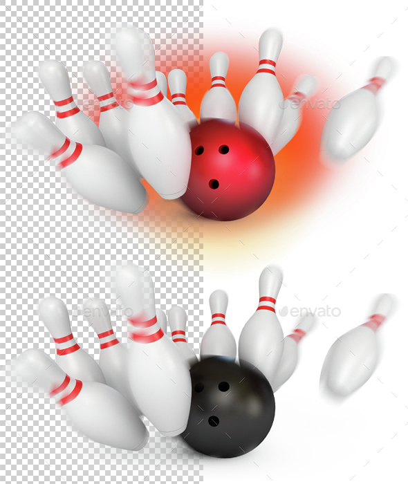 Bowling ball crashing into the pins. 3d render - 3D Backgrounds