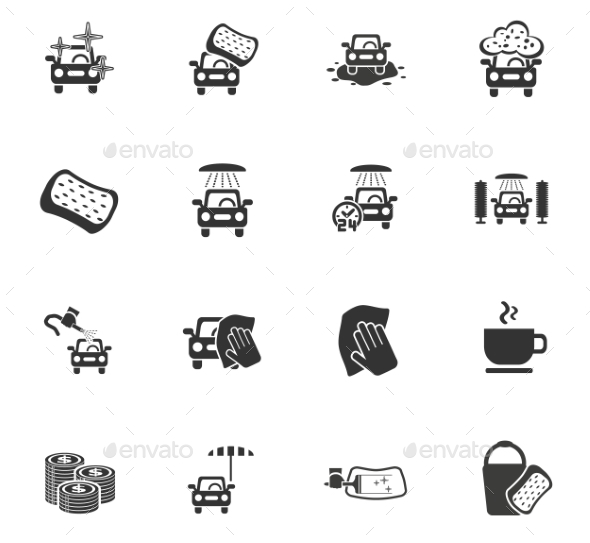 Car Wash Service Icon Set - Miscellaneous Icons