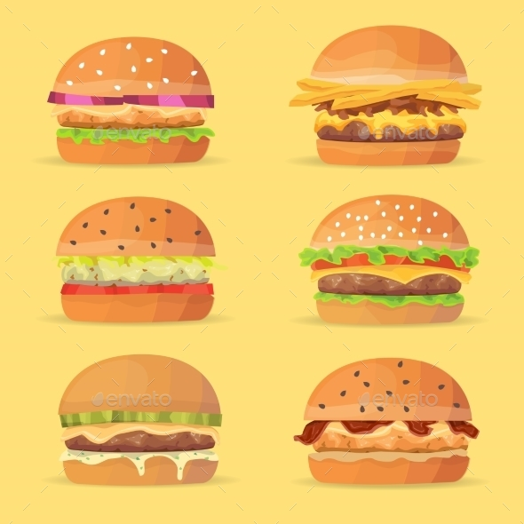 Burgers Set. Ingredients Buns, Cheese, Bacon - Food Objects