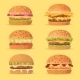 Burgers Set. Ingredients Buns, Cheese, Bacon - GraphicRiver Item for Sale