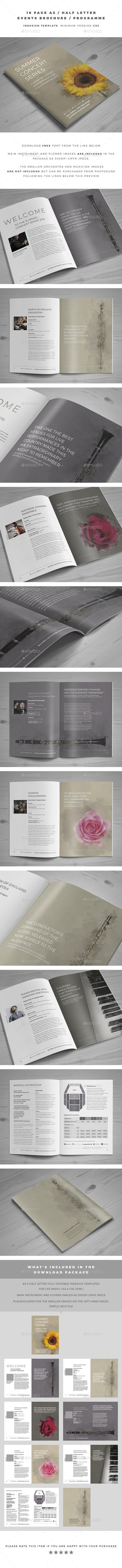 A5 / Half Letter Events Brochure / Programme - Brochures Print Templates