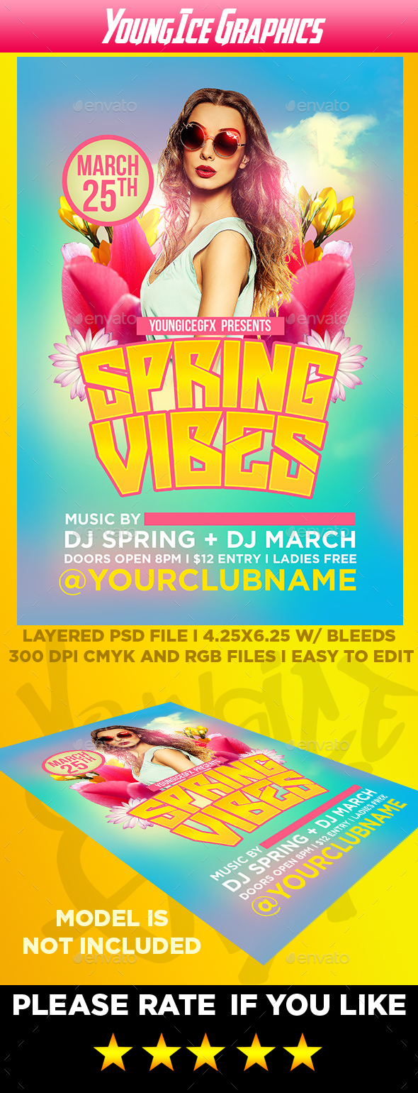 Spring Vibes Flyer Template - Clubs & Parties Events