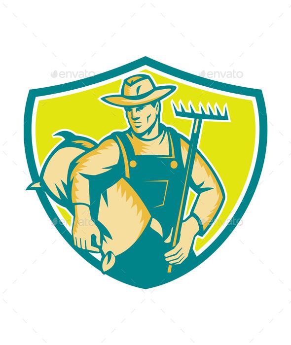 Organic Farmer Rake Sack Shield Woodcut - People Characters