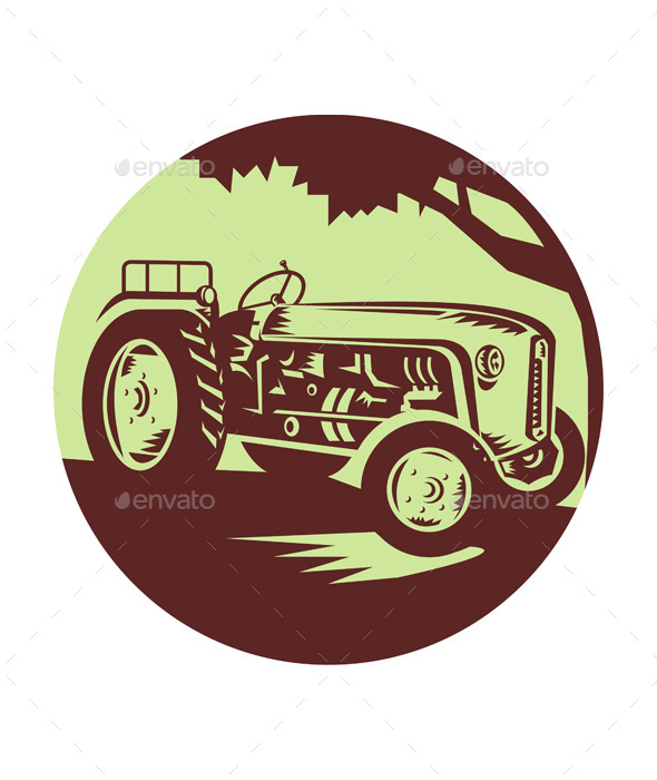 Vintage Farm Tractor Circle Woodcut - Travel Conceptual