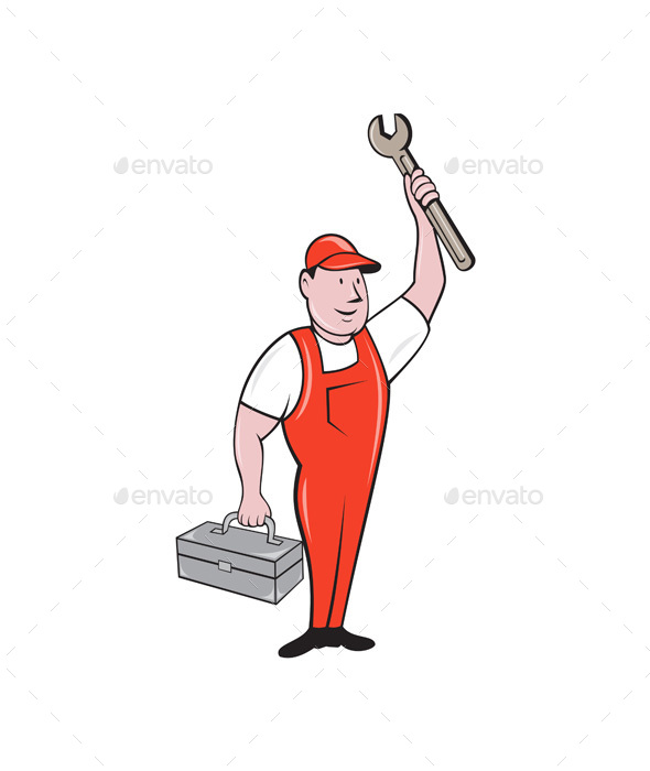 Mechanic Raising Wrench Holding Toolbox Cartoon - People Characters