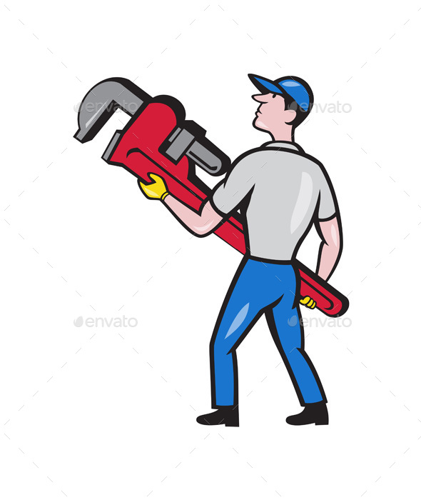 Plumber Carrying Monkey Wrench Cartoon - People Characters