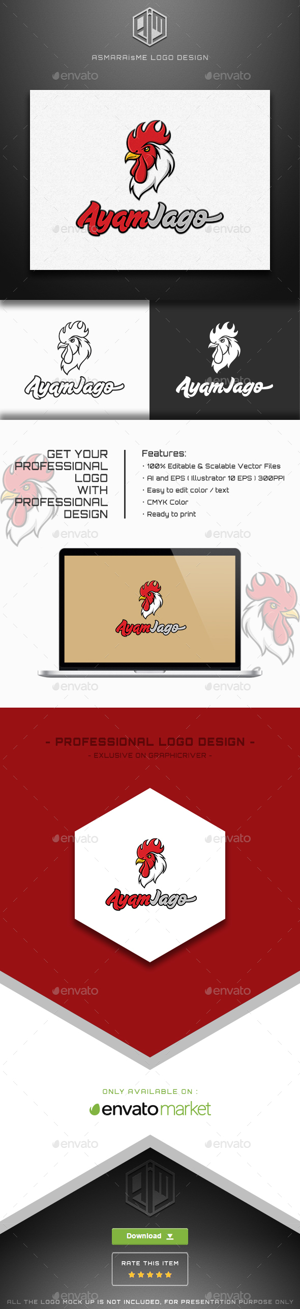 Ayam Jago - Rooster Logo - Animals Logo Templates