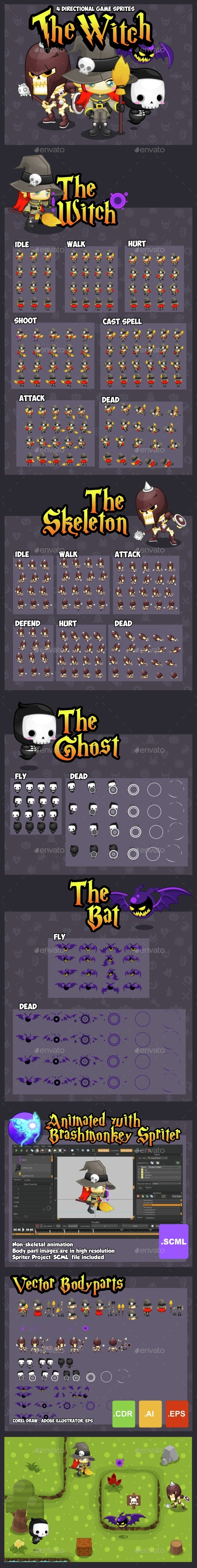 The Witch - Game Sprites - Sprites Game Assets