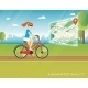 Young Woman Riding a Bike and Seeing Bicycle Path - GraphicRiver Item for Sale