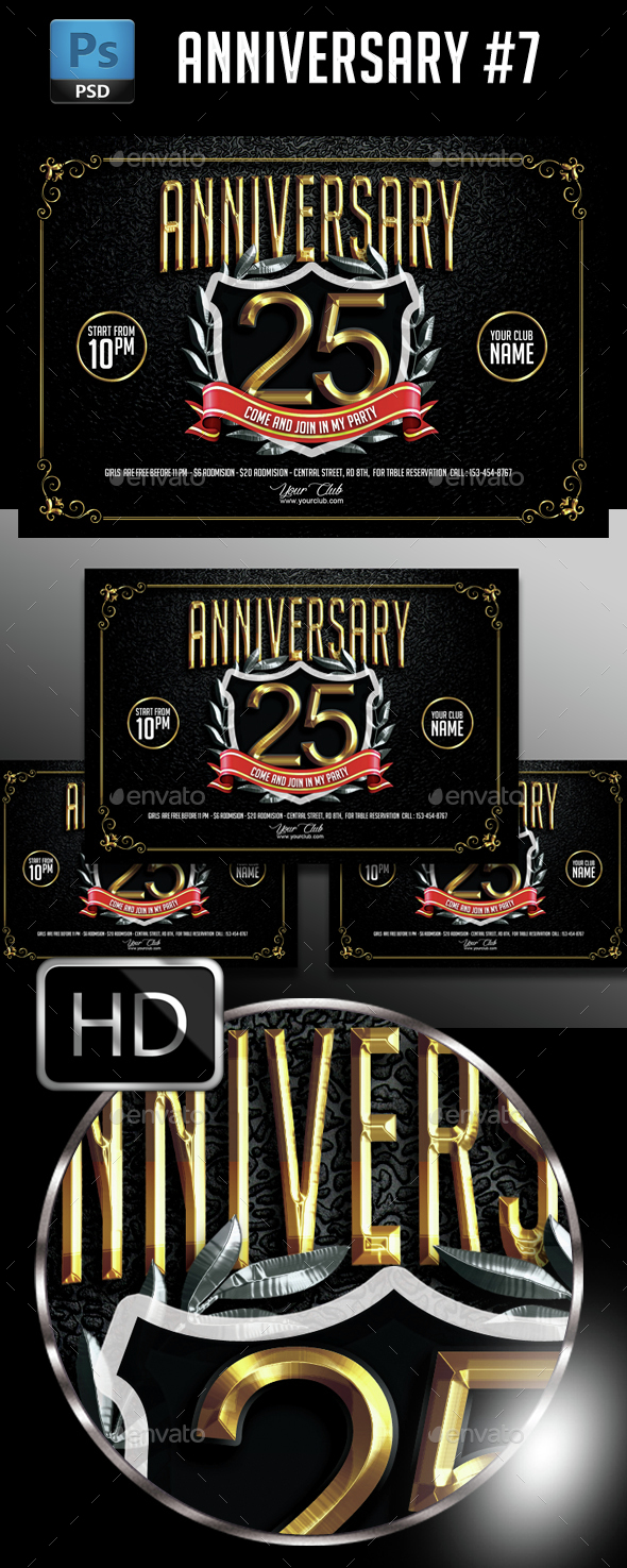 Anniversary Party #7 - Events Flyers