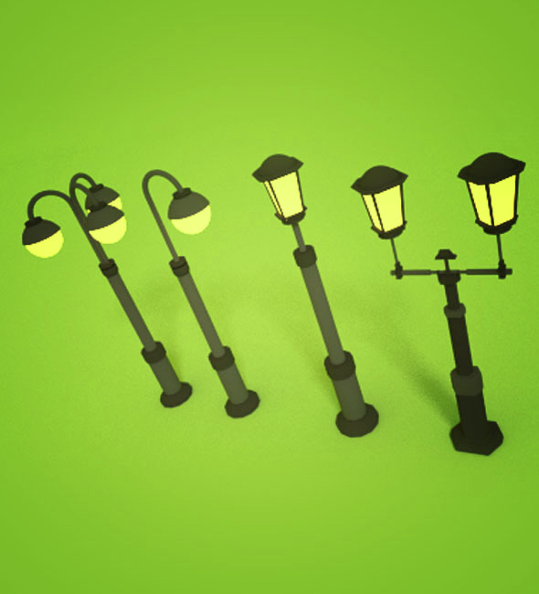 Low Poly Park Lamp - 3DOcean Item for Sale
