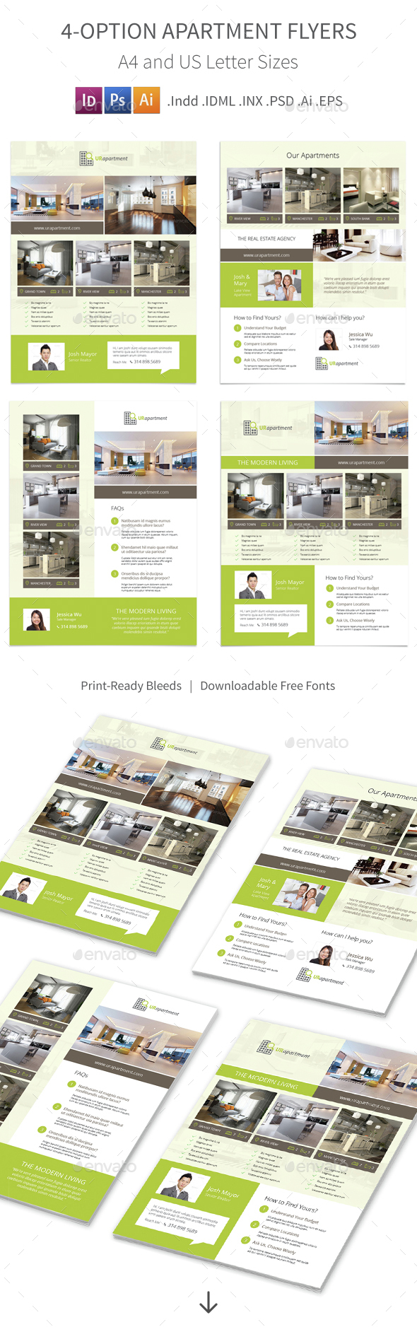 Apartment For Rent Flyers – 4 Options by Mike_pantone | GraphicRiver