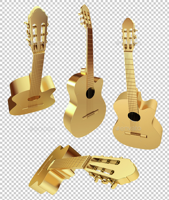 Golden Acoustic Guitar. 3d render - 3D Backgrounds