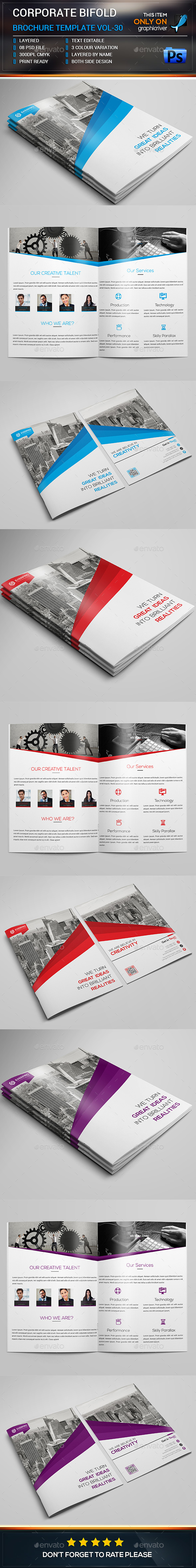 Corporate Bifold Brochure Template  - Brochures Print Templates