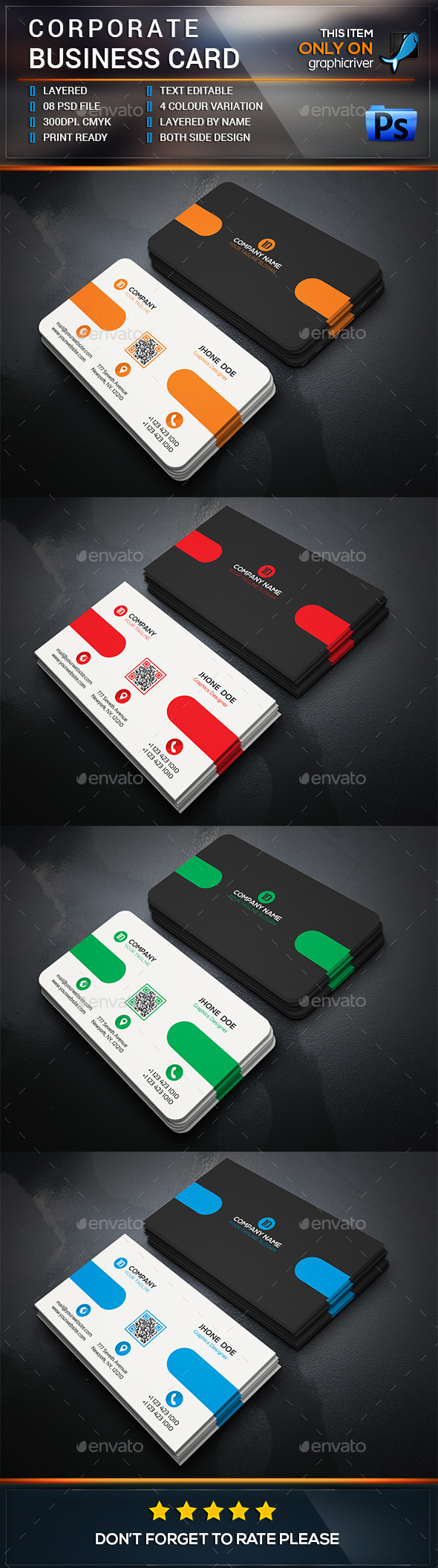 Corporate Business Card Design - Business Cards Print Templates