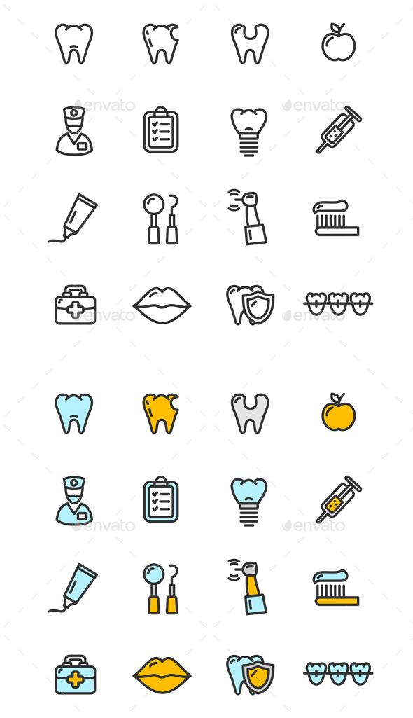 Dental Tooth Doctor Color Icon Set - Miscellaneous Conceptual
