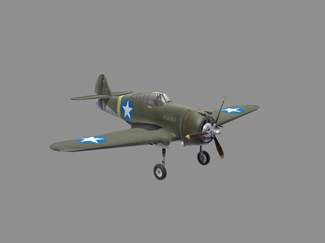 Curtis P-36 Hawk 3ds max model of WW2 aircraft - Curtiss P-36 Hawk - Low poly 3d model of WW2 aircraft.