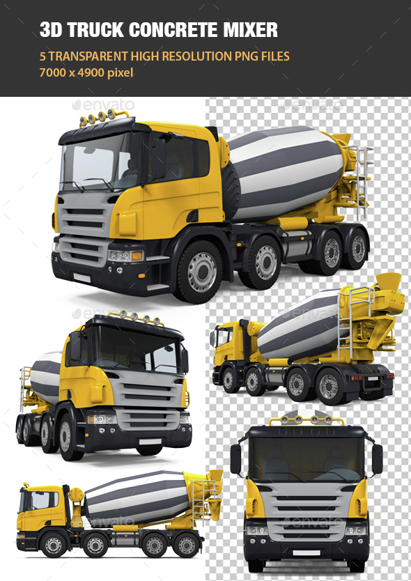 3D Truck Concrete Mixer - Objects 3D Renders
