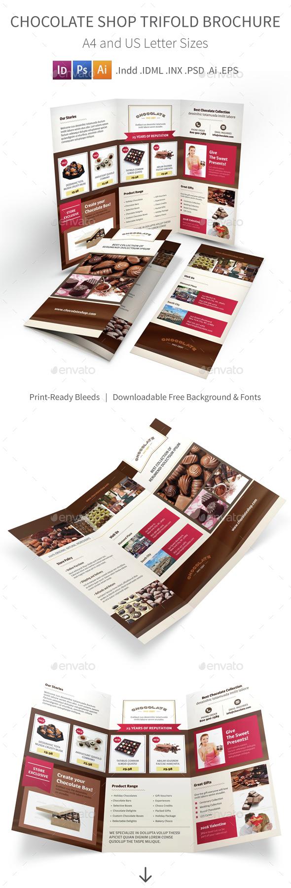 Chocolate Shop Trifold Brochure 2 - Informational Brochures