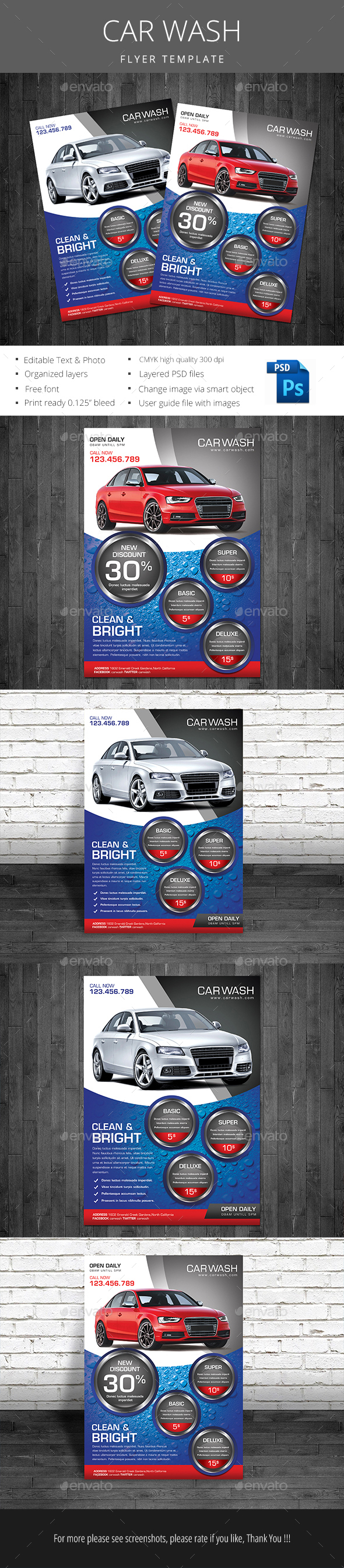 Car Wash - Flyers Print Templates