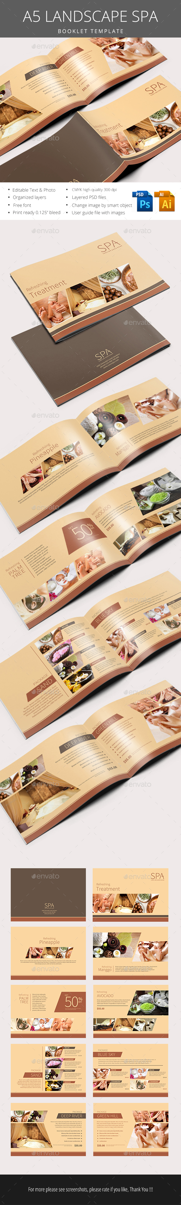 A5 Landscape Spa Brochure - Flyers Print Templates