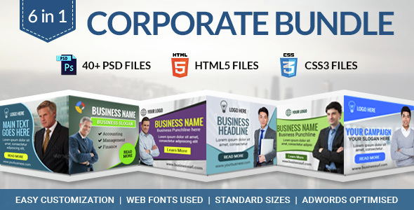 Corporate Bundle - 6 in 1 HTML5 Ad Banner Templates - CodeCanyon Item for Sale