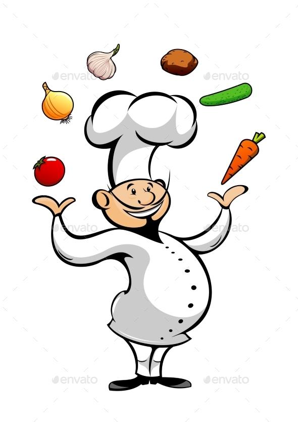 Cartoon Chef Juggling Fresh Vegetables - People Characters