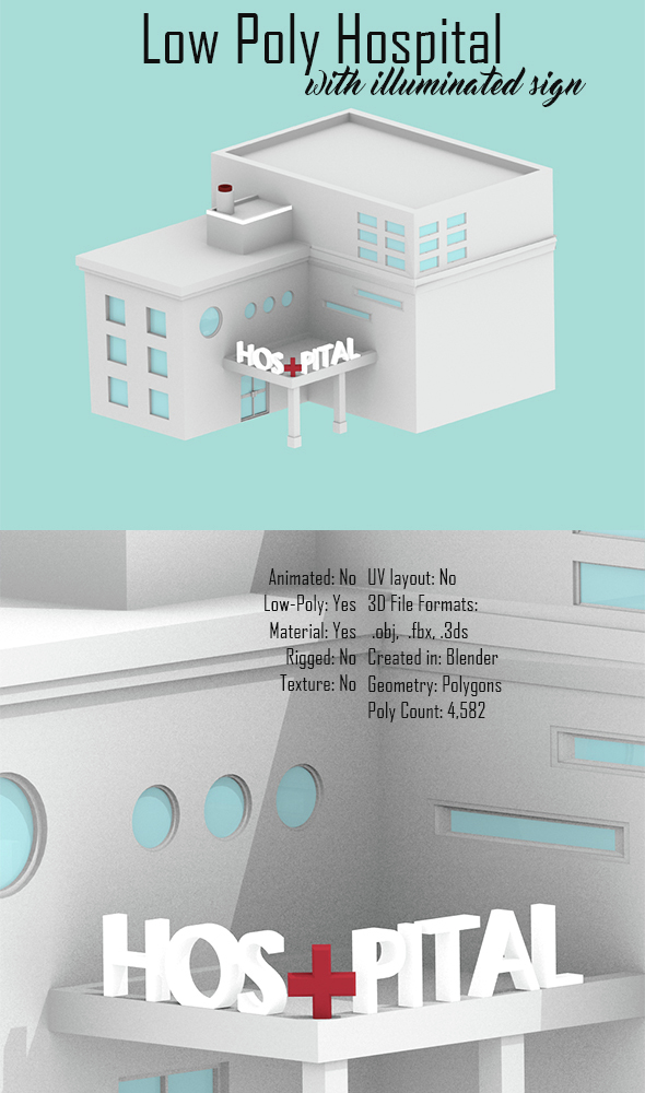 Low Poly Hospital - 3DOcean Item for Sale