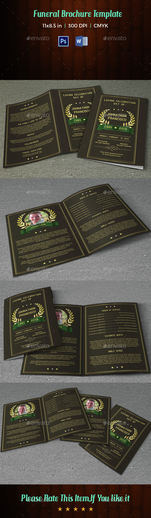 Funeral Program Template-V34 - Informational Brochures