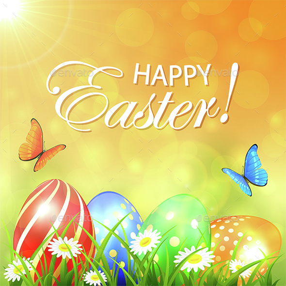 Abstract Spring Background with Colored Easter Eggs - Miscellaneous Seasons/Holidays