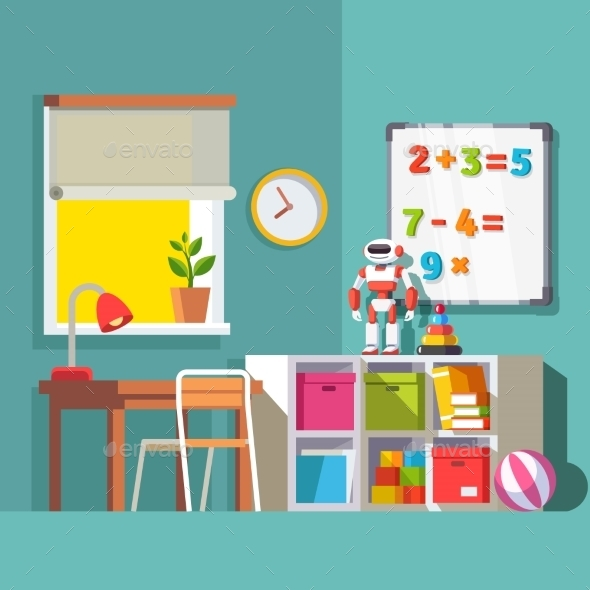 Preschool or School Student Kid Room Interior - Man-made Objects Objects