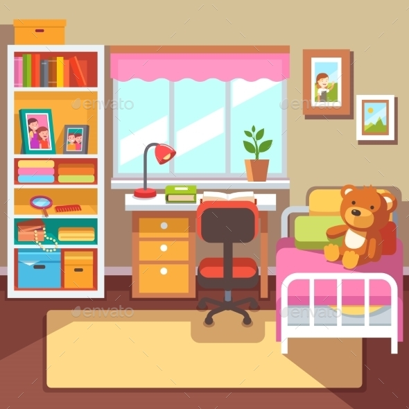 Preschool or School Student Girls Room Interior - Man-made Objects Objects