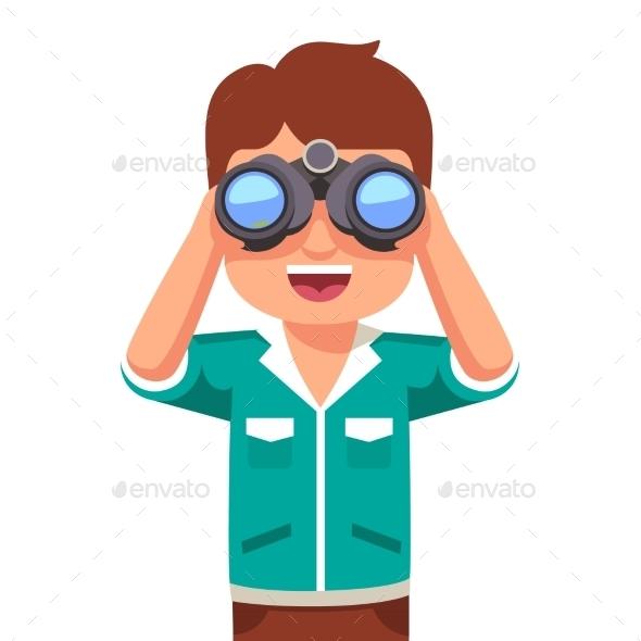 Happy Boy Looking Through Binoculars - People Characters
