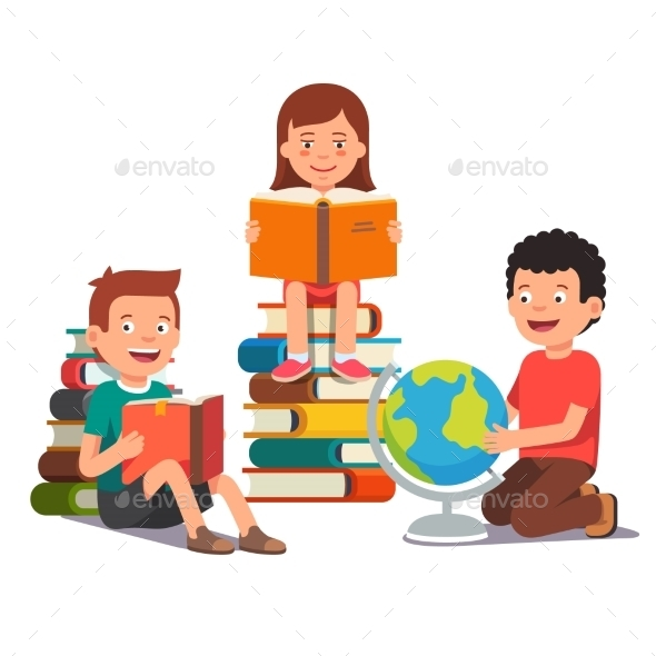 Group of Kids Studying and Learning Together - People Characters