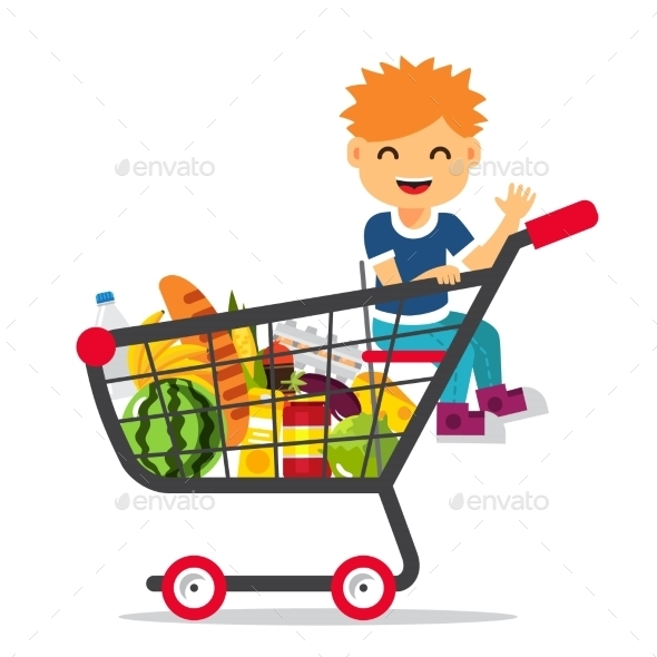 Kid Sitting in a Supermarket Shopping Cart - People Characters