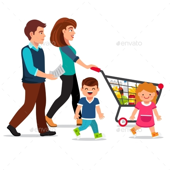 Family Walking with Shopping Cart - People Characters