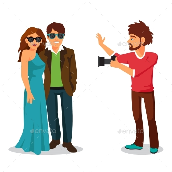 Professional Photographer Takes a Photo - People Characters