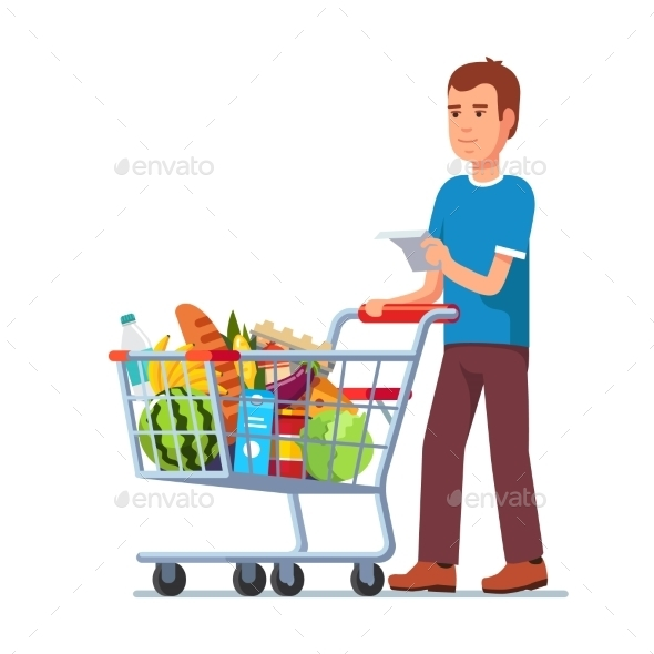Young Man Pushing Supermarket Shopping Cart - People Characters