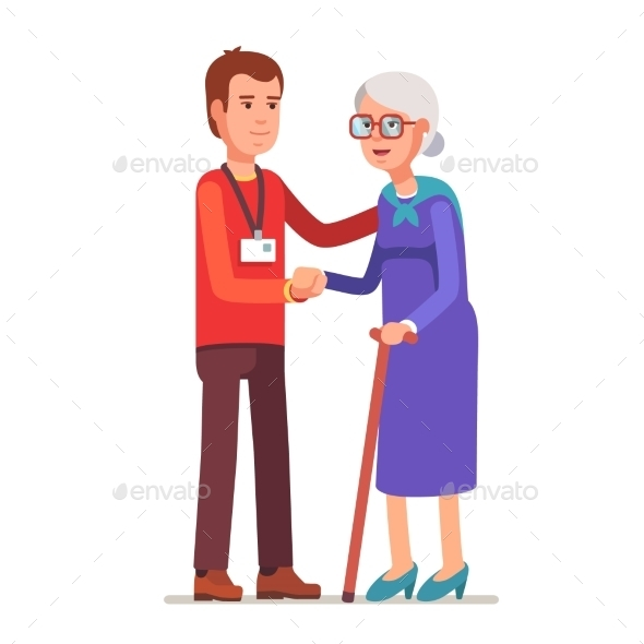 Young Man with Badge Helping an Old Lady - People Characters