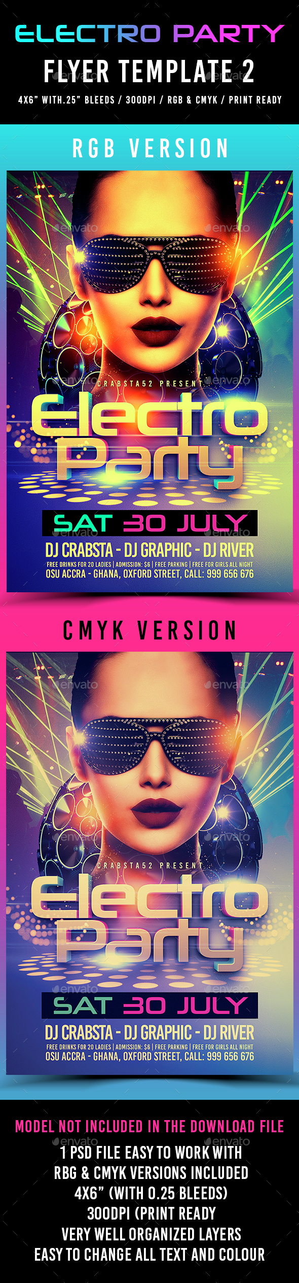 Electro Party Flyer Template 2 - Flyers Print Templates