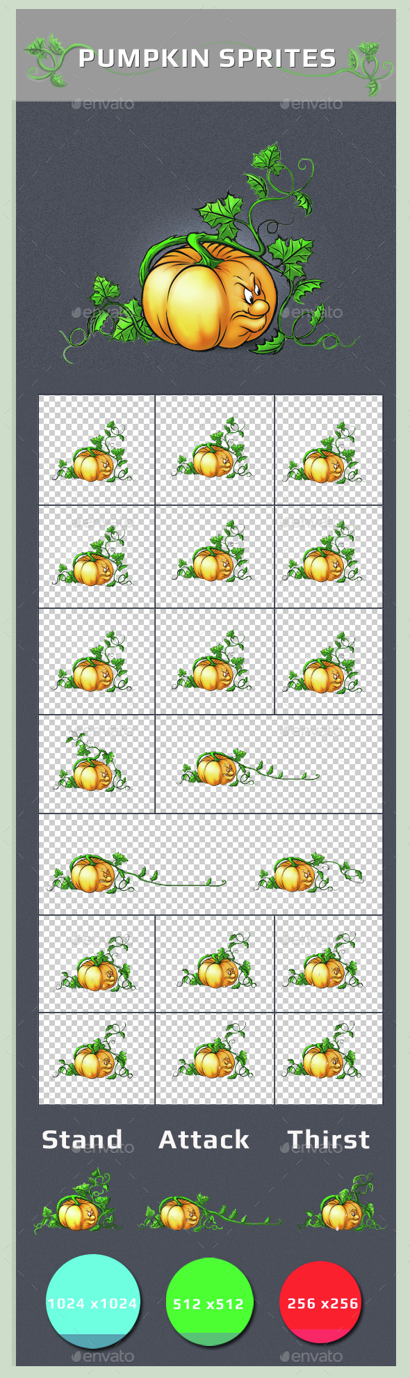 Pumpkin Sprites - Sprites Game Assets